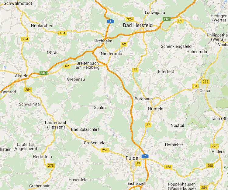 Kaart Kirchheim en omgeving